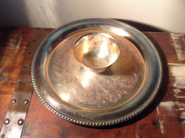 Vintage Metal Service Platter Tray with Small Bowl in Center Etched Metal Relief image 4