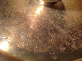 Vintage Metal Service Platter Tray with Small Bowl in Center Etched Metal Relief image 2