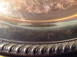 Vintage Metal Service Platter Tray with Small Bowl in Center Etched Metal Relief image 8