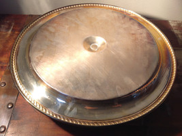 Vintage Metal Service Platter Tray with Small Bowl in Center Etched Metal Relief image 6