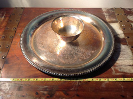 Vintage Metal Service Platter Tray with Small Bowl in Center Etched Metal Relief image 5