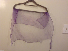 Vintage Purple Gauze Sheer Square Scarf for repair/repurposing 100% nylon image 5
