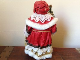 Vintage Santa Holding Chest Presents and Small Christmas Tree Red Cloak image 4