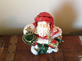 Vintage Santa Holding Chest Presents and Small Christmas Tree Red Cloak image 3