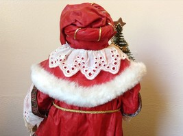 Vintage Santa Holding Chest Presents and Small Christmas Tree Red Cloak image 5