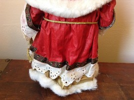 Vintage Santa Holding Chest Presents and Small Christmas Tree Red Cloak image 6