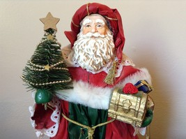 Vintage Santa Holding Chest Presents and Small Christmas Tree Red Cloak image 2