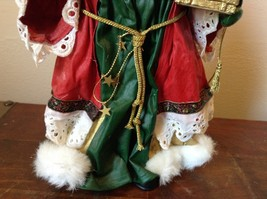 Vintage Santa Holding Chest Presents and Small Christmas Tree Red Cloak image 8
