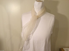 Vintage Square Lightweight White Sheer Scarf 100% Nylon image 2