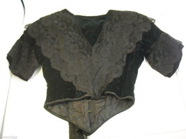 Vintage Victorian style Black lace with velvet short sleeved bodice beaded bust image 2