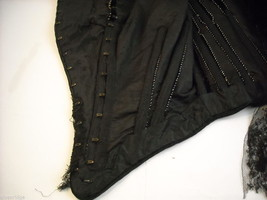 Vintage Victorian style Black lace with velvet short sleeved bodice beaded bust image 5