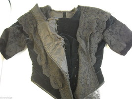Vintage Victorian style Black lace with velvet short sleeved bodice beaded bust image 8
