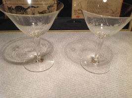 Vintage Two Piece Set Crystal Copper Wheel Engraving Wine Glasses image 3