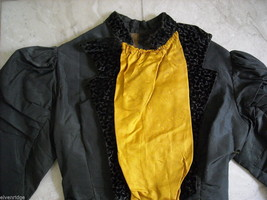 Vintage Victorian style black satiny bodice w velveteen paisley trim gold front image 9