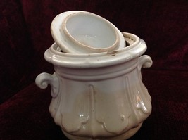 Vintage White Cookie Jar or Canister with Lid Small Handles on Sides image 2