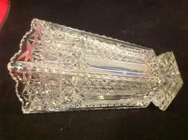 Vintage estate square American Brilliant crystal glass vase image 6