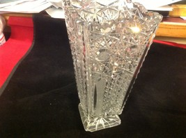 Vintage estate square American Brilliant crystal glass vase image 8
