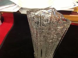 Vintage estate square American Brilliant crystal glass vase image 7