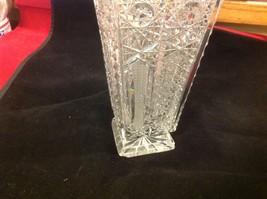 Vintage estate square American Brilliant crystal glass vase image 9