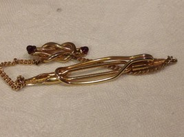 Vintage gold tone Anson tie clip with red stud stones image 6