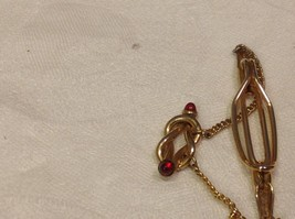 Vintage gold tone Anson tie clip with red stud stones image 4