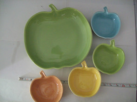 Vintage apple ceramic serving set in green blue yellow made in California image 2