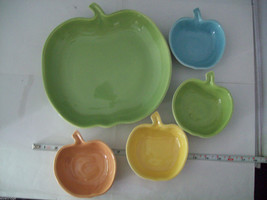 Vintage apple ceramic serving set in green blue yellow made in California image 3