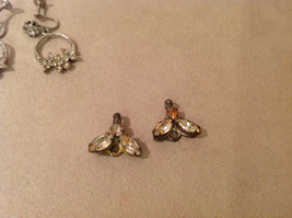 Vintage clip on with clear and brown crystals dangling earrings, extra adds on image 4