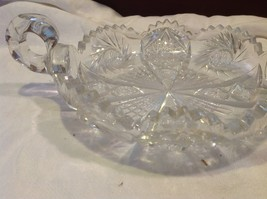 Vintage cut crystal candy dish with handles from estate early 1900s image 6