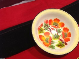 Vintage enamelware small bowl with flower floral stencils image 2
