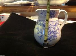 Vintage delicate blue floral patter ceramic white European pitcher image 2