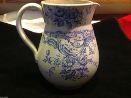 Vintage delicate blue floral patter ceramic white European pitcher image 8