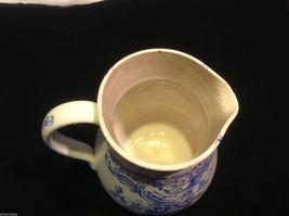 Vintage delicate blue floral patter ceramic white European pitcher image 7