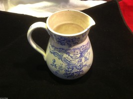 Vintage delicate blue floral patter ceramic white European pitcher image 9