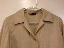 Vito Emanuele Long Sleeve Sand Colored Button Up Front Blouse No Size Tag image 3