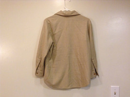 Vito Emanuele Long Sleeve Sand Colored Button Up Front Blouse No Size Tag image 2