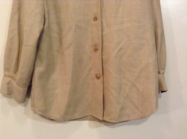 Vito Emanuele Long Sleeve Sand Colored Button Up Front Blouse No Size Tag image 4