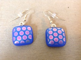 Violet Blue Polka Dot Square Shaped Glass Dangling Earrings image 2