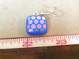 Violet Blue Polka Dot Square Shaped Glass Dangling Earrings image 4