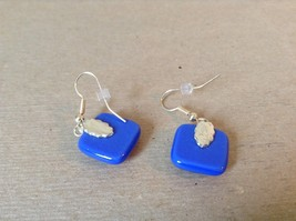 Violet Blue Polka Dot Square Shaped Glass Dangling Earrings image 3