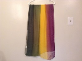Violet Yellow Dark Green Light Sheer 100 Percent Polyester Scarf NEW without Tag image 3