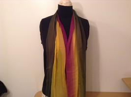 Violet Yellow Dark Green Light Sheer 100 Percent Polyester Scarf NEW without Tag image 2