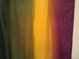 Violet Yellow Dark Green Light Sheer 100 Percent Polyester Scarf NEW without Tag image 4