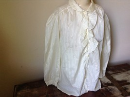 White Fancy Blouse Gold Stripes Erica Jade with Buttons Long Sleeves No Size Tag image 4