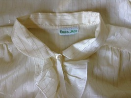 White Fancy Blouse Gold Stripes Erica Jade with Buttons Long Sleeves No Size Tag image 7