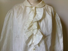 White Fancy Blouse Gold Stripes Erica Jade with Buttons Long Sleeves No Size Tag image 2