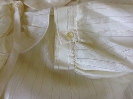 White Fancy Blouse Gold Stripes Erica Jade with Buttons Long Sleeves No Size Tag image 8