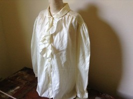 White Fancy Blouse Gold Stripes Erica Jade with Buttons Long Sleeves No Size Tag image 5