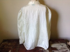 White Fancy Blouse Gold Stripes Erica Jade with Buttons Long Sleeves No Size Tag image 6