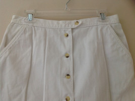 White Front Button Up Skirt Knee Length Pockets Cherokee Size 13/14 image 2
